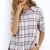 Olive & Oak Craft a Path Peach Plaid Button-Up Top