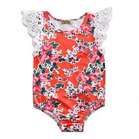 Summer Floral Newborn Baby Girl Clothes Cotton Lace Butterfly sleeves Romper Jumpsuit Outfits Sun-suit