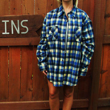 vintage blue flannel cotton oversized lumberjack grunge work hipster shirt.
