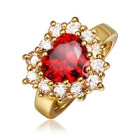 18K Yellow Gold Plated Princess Wedding Inspired Ruby Red Cubic Zirconia Heart Shaped Cocktail Ring