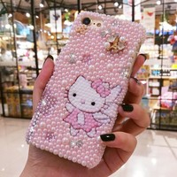 For iPhone XR 3D Bling Crystal Luxury Pearl Pink Hello Kitty Diamond case for iphone XS Max X 6 6S 6Sp 7 7P 8 8plus gift cover