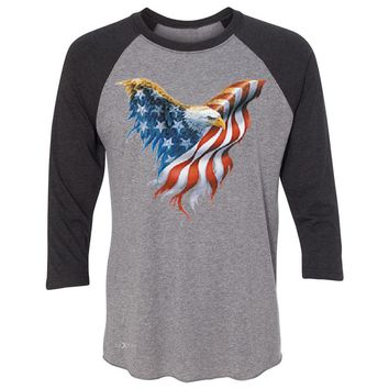 "Zexpa Apparelâ""¢ American Flag Bald Eagle 3/4 Sleevee Raglan Tee USA Flag 4th of July Tee"
