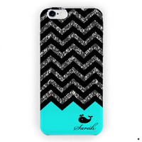 Chevron Black  Whale Mind With Initials For iPhone 6 / 6 Plus Case
