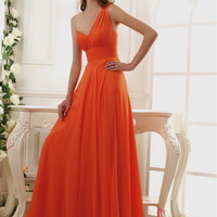 A-line One Shoulder Chiffon Floor-length Evening Dress With Ruched at Msdressy
