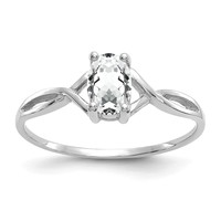 14k White Gold White Topaz April Birthstone Ring