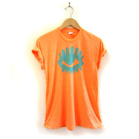 Observing Eye Crew Neck Hand Stenciled Slouchy Rolled Cuffs Tee in Tangerine - S M L XL 2XL 3XL
