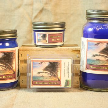 Hawaiian Breeze Candle and Wax Melts, Nature Scent Candle, Highly Scented Candles and Wax Tarts, Beach Scent Candle, Summertime Candle