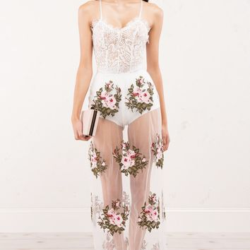See Through Tulle Maxi Skirt with Floral Embroidery and Crochet Trim in White and Black