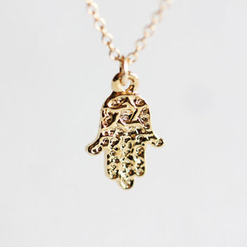 Hamsa Hand Gold Necklace - hand of fatima 18k gold plated over sterling silver, 14k gold filled necklace