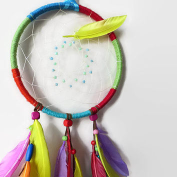 Rainbow Dream catcher.FREE SHIPPING. Large Dream Catcher. Feather Wall Art. Bohemian Decor. Hanging Decoration