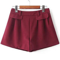 Burgundy Faux Pockets Ruched Shorts