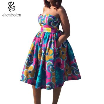 Ankara styled sweetheart dress with pockets