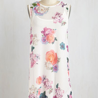ModCloth Mid-length Sleeveless Shift Look on the Bright Poolside Dress