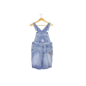 vintage 90s EEYORE denim overalls shorts - 1990s disney - winnie the pooh - womens small