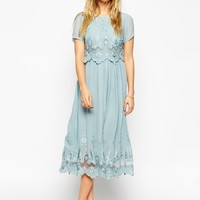 ASOS Premium Vintage Dress with Double Layer and Embroidery