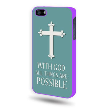 Shawnex Christian Cross Quote Purple Plastic iPhone 5 & 5S Case - Fits iPhone 5 & 5S
