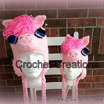 CROCHET PATTERN My Pretty Pony Inspired Earflap beanie INSTANT Download / Crochet Pattern / Pretty Pony Crochet Photo prop earflap beanie