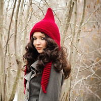 Hand Knit Hat Womens Hat - Pixie Hat in Red Cranberry - Black Friday Etsy Cyber Monday Etsy