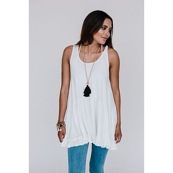 Free Falling Sleeveless Tunic - White