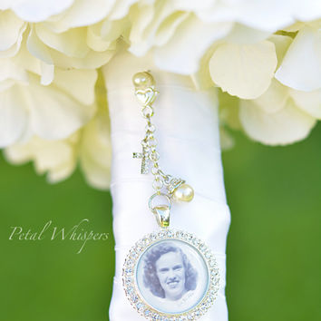 Rhinestone Bridal Bouquet Charm - Bouquet Photo Charm - Bridal Bouquet  Picture Charm - Bouquet Pendant - Bridal Gift - Photo Keepsake