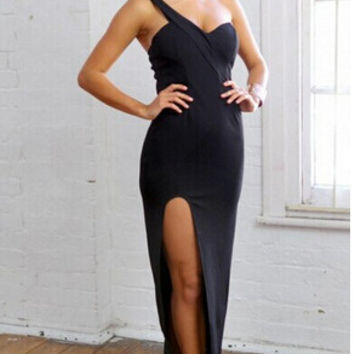 One Shoulder Sleeveless Bodycon Maxi Dress with Side Slit