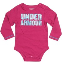 Under Armour Baby Girls Long Sleeve Stripe Logo One Piece Rosewood, 6-9 Months