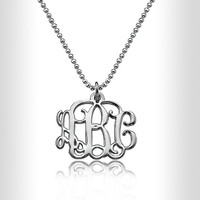 """Sterling Silver 0.8"""" Monogram Necklace Custom Made Initials Monogrammed Necklace Monogram Name Jewelry,name plate"""