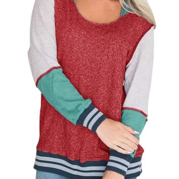 Varsity Striped Purplish Red Colorblock Hoodie