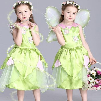 Cool 2018 New Tinkerbell princess Woodland Fairy Dress Cosplay Costume Girls Green Fairy Dress for 3-10Y kids (without wing)AT_93_12
