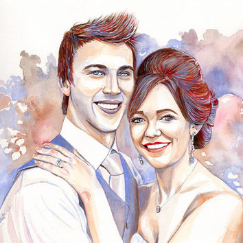 COUPLE WATERCOLOR PORTRAIT - 2 people painting - weeding anniversary gift