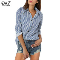 Dotfashion 2016 Woman Casual Autumn Female Shirts Hot Sale Streetwear Designer Blue Long Sleeve Lapel Vertical Striped Blouse