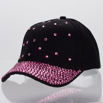 DCCKU62 women luxury cap customized design jet fuchsia crystal beads beauty curved baseball caps girl woman brand casual snapback hats