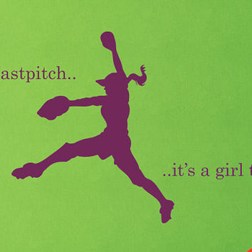 Girl Fastpitch Vinyl Wall Decal - Softball Vinyl Decal - Girls Room Decor - Teenager Decor- Sports Theme