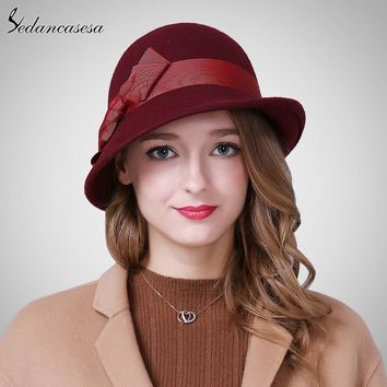 Sedancasesa Autumn Winter Female hats cloche ladies England Retro Australian wool Felt Hat Bow Bucket hats for Women FW206005