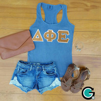 CUSTOM Ladies Comfort Color Racer Back Tank Top with Greek (Sorority) Letters