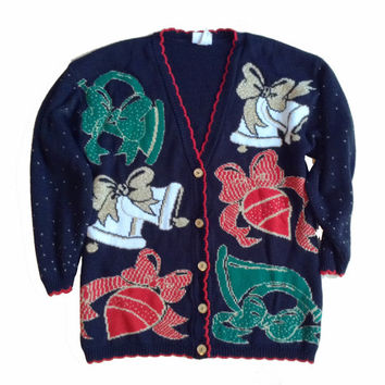 90s Ugly Christmas Sweater - Button Up Sweater - Glitter - Ugly Xmas Sweater Party Outfit for Her