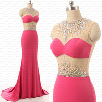 Mermaid evening dress,handmade crystal/beading tull chiffon formal women long evening dress,party dress/prom dress