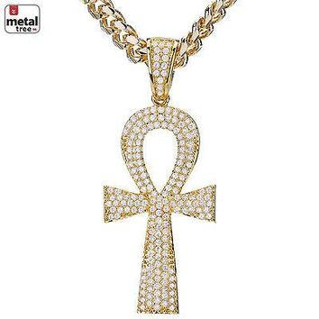Jewelry Kay style Mens Hip Hop 14k Gold Plated Mini Ankh Cross Pendant Cuban Chain Set BCH 414