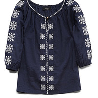 FOREVER 21 GIRLS Embroidered Peasant Top (Kids) Navy/Cream