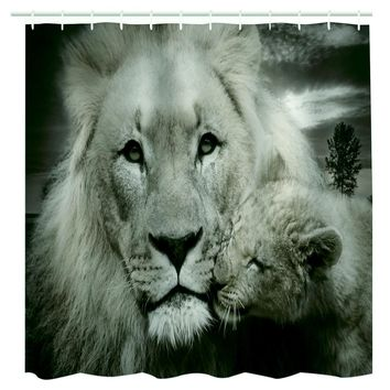 Shower Curtain 3D Printed Two Tigers Waterproof  Polyester Bath Curtain Animal Motifs Bathroom Door Curtain With Hang Hooks