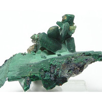Malachite Pseudomorph after Azurite with Cerussite Mineral Specimen from Morocco