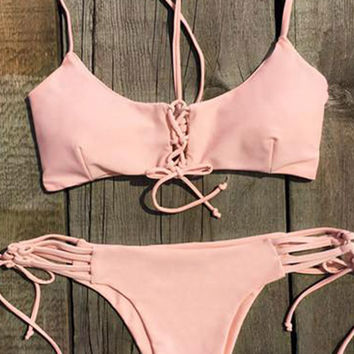 Cupshe Sweet Peach Lace Up Bikini Set