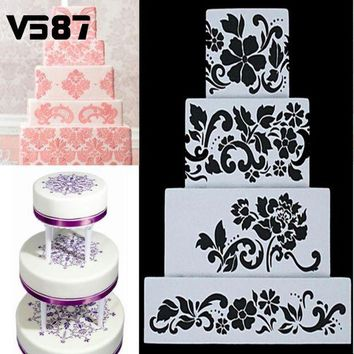 DCCKFS2 4Pcs DIY Reusable Cake Baking Stencils Cookie Sugar Crafts Side Wedding Decor Home Bakery Cake Decor Tools Accessories Bakeware