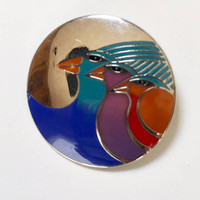Laurel Burch Celestial Birds Vintage Enameled Brooch