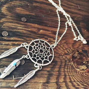 Dream Catcher Necklace with Turqouise Feather Stone