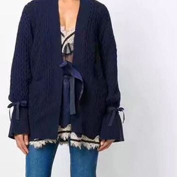 Knit Cashmere Navy Tunic Cardigan