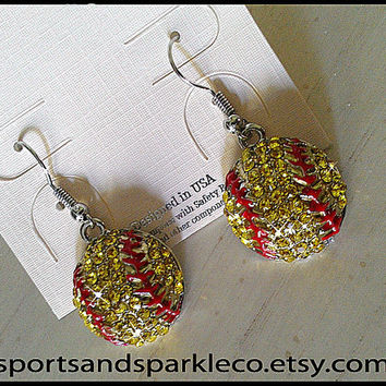 Rhinestone Bling Softball Sports Dangle Shepherd Hook Earrings