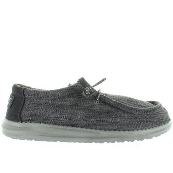 Hey Dude Wally Woven - Carbone Textile Athleisure Wallabee
