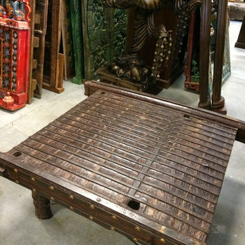 Antique Banjara Vintage Indian Solid Ox Cart Coffee Table with Brass Iron Accents