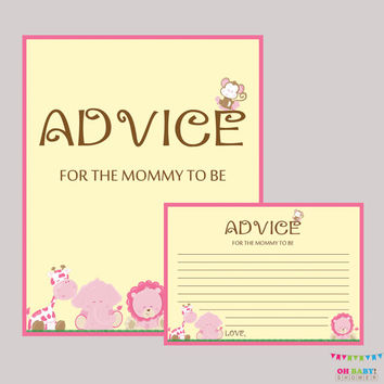 Advice for Mommy to Be Cards and Sign Safari Pink Baby Shower Printable - Instant Download Girl Safari Advice for New Mommy - BS0001-P